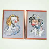 Two LARGE Framed and Signed Original Clown Paintings by Lang