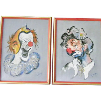 Two Happy Sad Framed Signed Original Clown Paintings by Lang