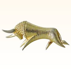 Signed Large Stylistic Bull, El Toro gold tone brooch pin