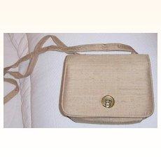 Beige Raw  Silk Shoulder Bag  Mint!