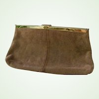 Etra Tan Suede Leather Clutch Purse / Shoulder Bag Convert