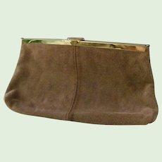 Etra Tan Suede Leather Clutch Purse / Shoulder Bag Convert