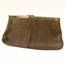 Etra Tan Suede Leather Clutch Shoulder Bag Purse Convert
