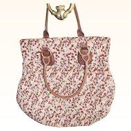 "Large Leather & Shirred Cotton Tote Handbag 16"" x 16"""