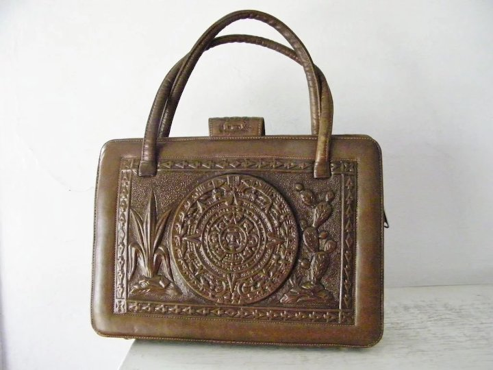 Extra Large Hand Tooled Leather And Cowhide Purse Mexico Mint Unique