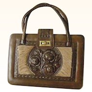 Extra Large Hand Tooled Leather and Cowhide Purse Mexico Mint and Unique
