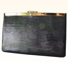 Etra Black Lizard Skin Leather Clutch convert to Handbag