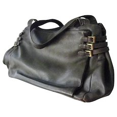 Italian Marco Buggiani vintage brown Italian leather handbag