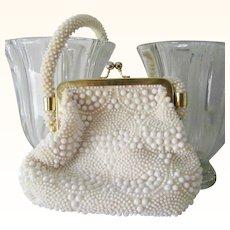White Beaded Handbag Hong Kong Excellent Condition