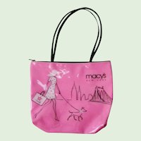 Macy's Vinyl Hot Pink Tote Purse