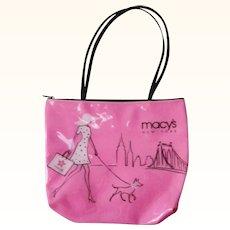 Macy's Vinyl Hot Pink Tote Purse