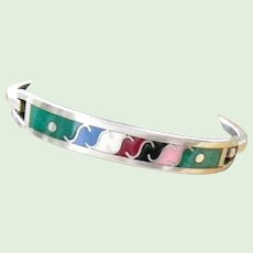 Mexican Sterling Silver and Enamel Hinged Bracelet 13.1 grams