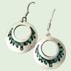 Taxco Mexican Silver Malachite and Onyx hoop earrings