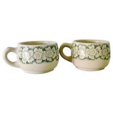 Two Wallace China green on tan restaurant ware Cups Mugs Festival