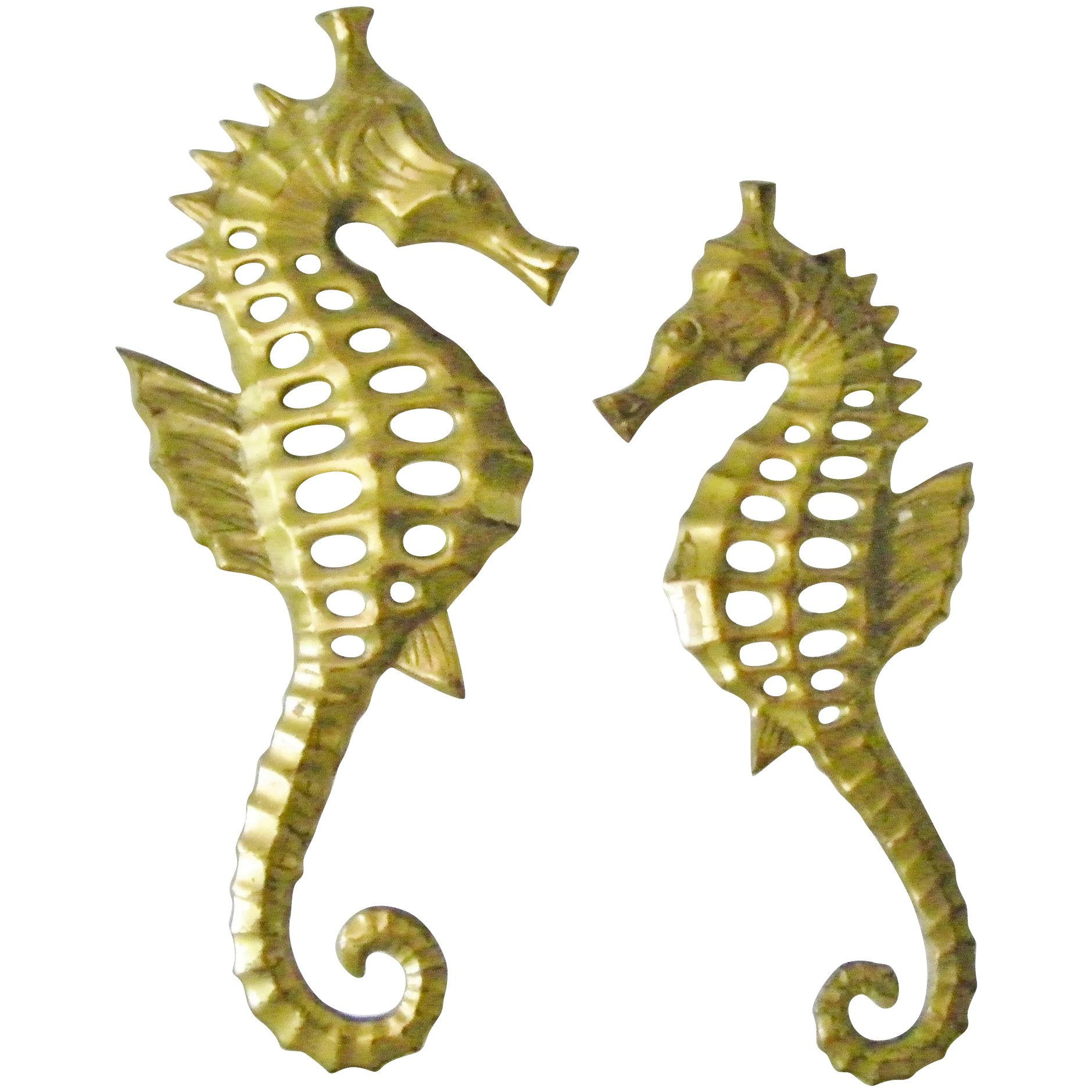 Pair of Brass Seahorse wall hanging decor sea horse figurine plaque ...