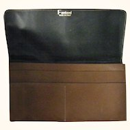 Fantoni Italian Brown Leather Checkbook Wallet mint condition
