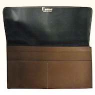 Fantoni Italian Brown Leather Checkbook Wallet mint condition