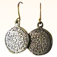 Vintage round pierced Egyptian Cartouche Earrings