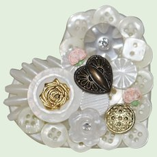 Large vintage heart brooch applied buttons rhinestone