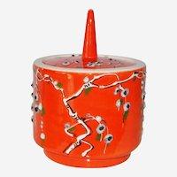 Italian Orange Atomic Mid Century  Ceramic Covered Jar Numbered Italy