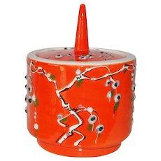 Orange Modern Mid Century Italian Ceramic Covered Jar Numbered