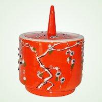 Numbered Orange Atomic Mid Century Italian Modern Ceramic Covered Jar