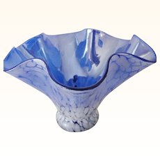 Hand made iridescent sky blue Crackle Art Glass Handkerchief Style Bowl