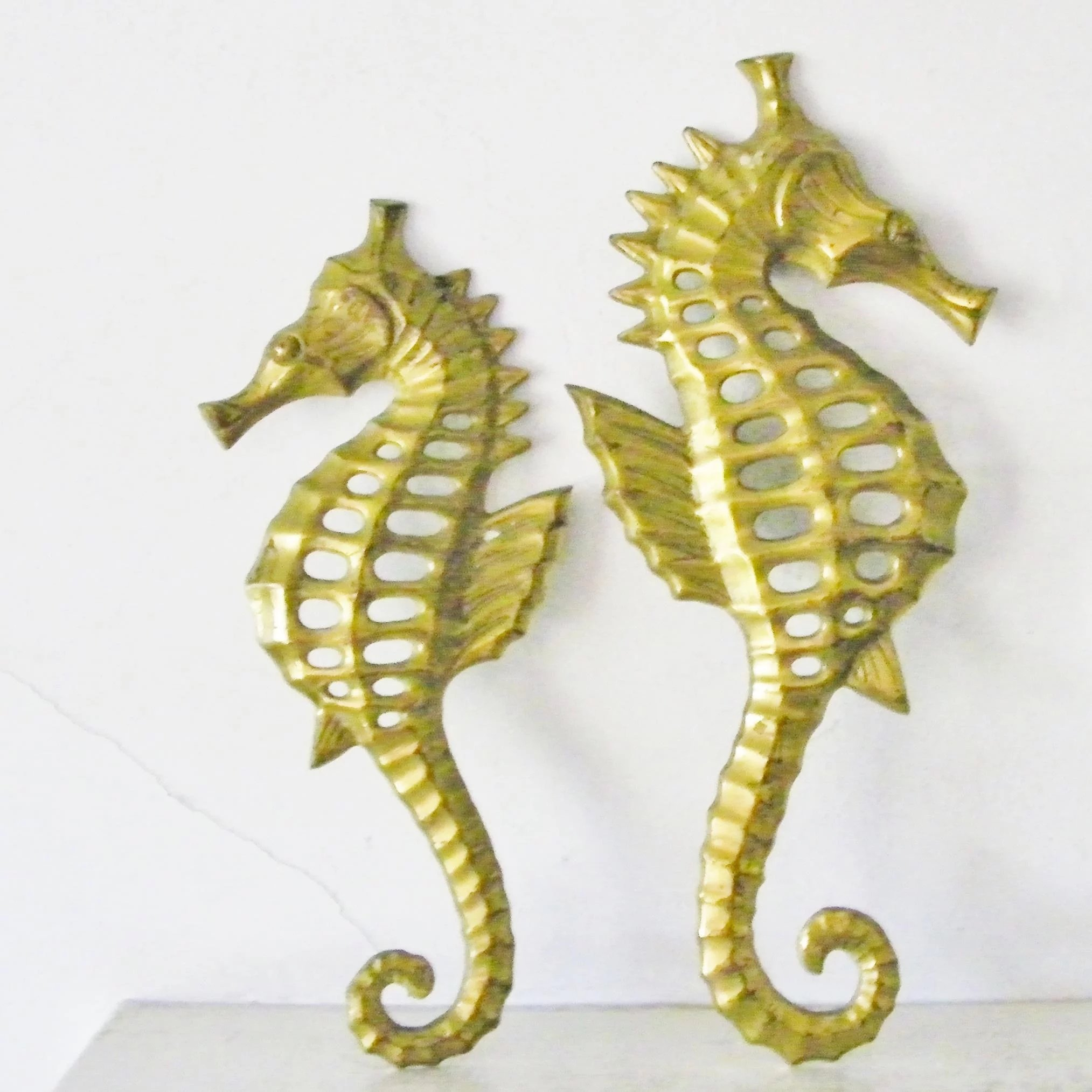 Pair of Brass Seahorse wall hanging decor sea horse figurine plaques
