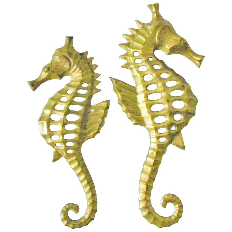 Pair of Brass Seahorse wall hanging decor sea horse figurine plaques ...