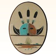 Signed Navajo Sand Painting Buffalo Horn by Melvin Masquat