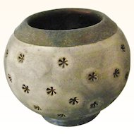Signed Art Studio Pottery Raku Pot Vase Black Gray