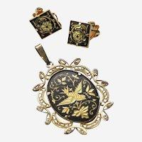 Vintage Filigre Damascene Bird Pendant and earring set