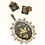 Vintage Filigre Damascene Bird Pendant and earring set