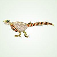 Rhinestone Pheasant Brooch