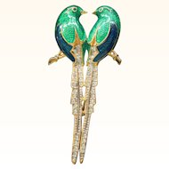 Signed ARPEL Enamel and Pave Rhinestone Love Bird Brooch