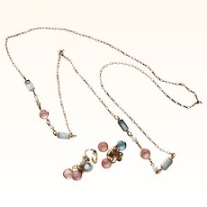 Pastel Glass and Faux Pearl necklace and earring set