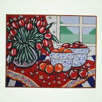 Bold 25 x 31 Brooke Howie Original Red Acrylic on Canvas Still Life Flowers Fruit