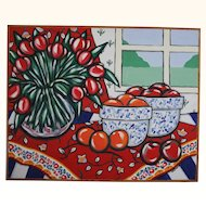 Large 25 x 31 Original Brooke Howie Acrylic on Canvas Still Life