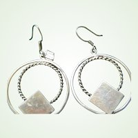 Double Hoop Sterling Silver Pierced Earrings 14.2 grams signed