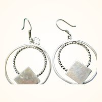 Double Hoop Sterling Silver Pierced Earrings 14.2 grams signed