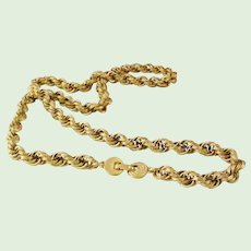 """Vintage Monet 26"""" Braided Rope Gold Tone Chain  necklace mint"""