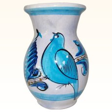 Blue Tonala Vase made in Mexico Bird Motif