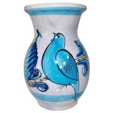Blue Tonala Vase made in Mexico Bird Motif