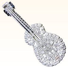Faux Sapphire and Diamond Rhinestone Guitar Brooch