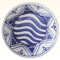 Star of David Art Pottery Bowl signed Blue and White
