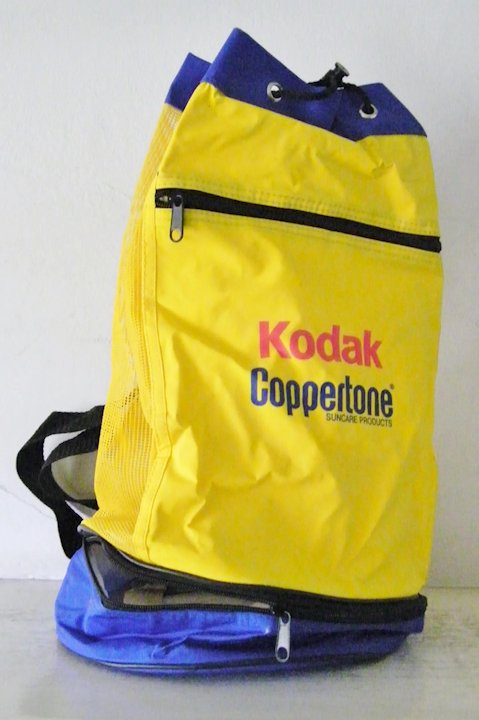 3db3656aa3b7 Vintage New Kodak Coppertone Bucket Tote Backpack with zipped thermal bottom