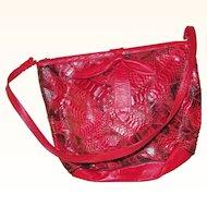 Red Leather Snakeskin Shoulder Bag Purse Handbag Bow on Front