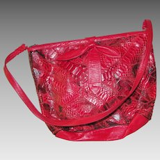 Red Leather Snakeskin Shoulder Bag Purse Handbag Bow on Front