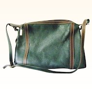 Huge I.Magnin Green Textured Leather Hobo Brown Leather Trim Leather lining