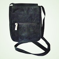 Wilsons Black Suede Leather Cross Body Purse Multi compartments